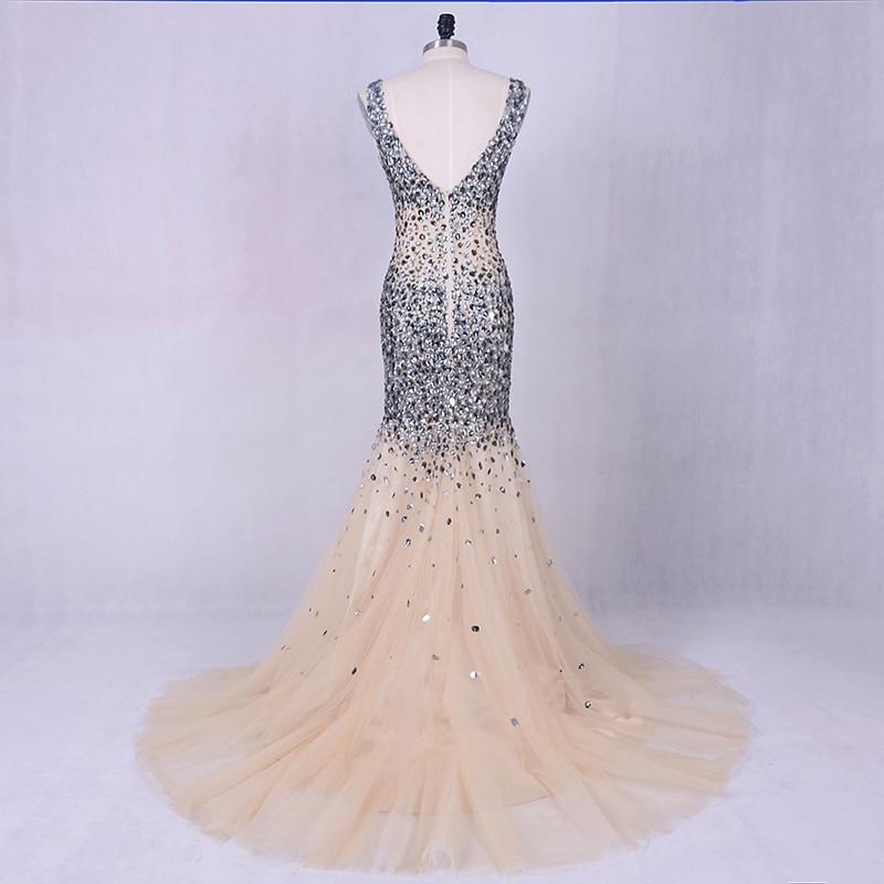 Lyxig kvällsklänning 2019 LORIE Silvergrå kristaller Beading Tulle - Särskilda tillfällen klänningar - Foto 5