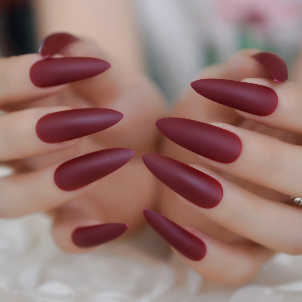 Matte Stiletto Extra Long Nails MediumVioletRed Color ...