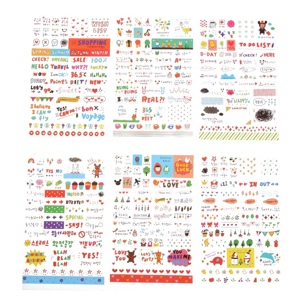 6pcs Cute transparent sticker Diary Scrapbook Calendar Notebook Label Decoration Stationery Stickers Office School Supplies