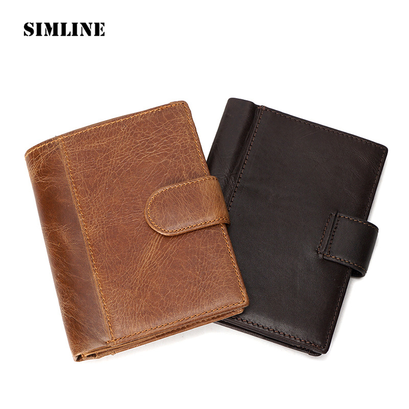 SIMLINE Vintage Genuine Leather Cowhide Men Short Wallet Wallets Purse Card Holder Coin Pocket Passport Holders Cover For Man famous brand cowhide leather knitting wallet women short wallets women coin card holder purse genuine leather purse