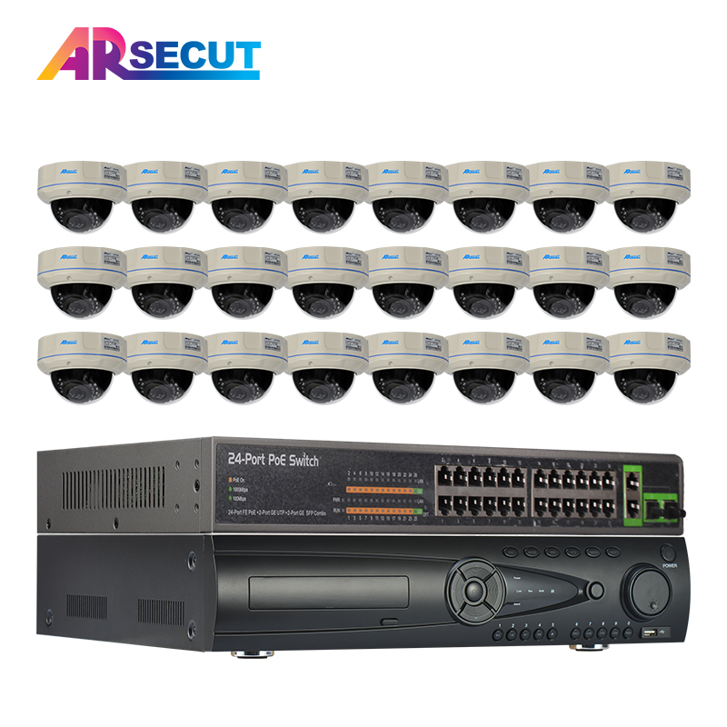 9TB HDD 24CH POE Onvif 24CH H.264 NVR Security CCTV  Camera System HD 1080P Dome Vandalproof POE Video Surveillance Kit areyourshop sale high quality 10 pcs adapter 90 degree rp sma male jack to rp sma female plug connector right angle m f ptfe