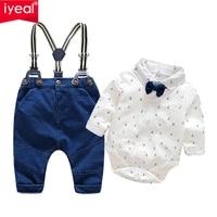 IYEAL Fashion Wedding Birthday Party Baby Boys Clothes Sets Cotton Romper Shirt Bib Pant Toddler Infant