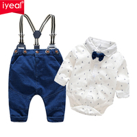 IYEAL Fashion Wedding Birthday Party Baby Boys Clothes Sets Cotton Romper Shirt Bib Pant Toddler Infant