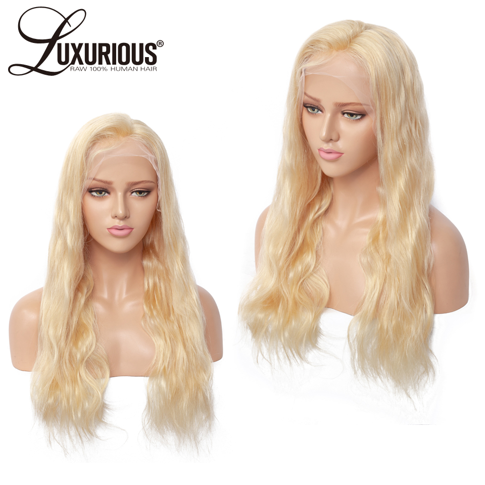 Body Wave #613 Blonde Full Lace Wigs Peruvian Remy Hair Transparent Lace Full Lace Human Hair Wig With Baby Hair 8-24 Inch(China)