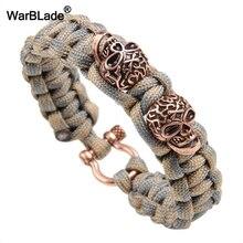 WarBLade модный браслет Ретро панк череп плетеный браслет для мужчин и женщин тканые парашютные браслеты из заплетенной кожи браслеты