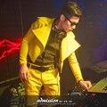 Tendencia chaqueta masculina dj traje trajes chaqueta de la capa de cuero amarillo para bailarín del cantante performance show de Navidad bar dj danza jazz
