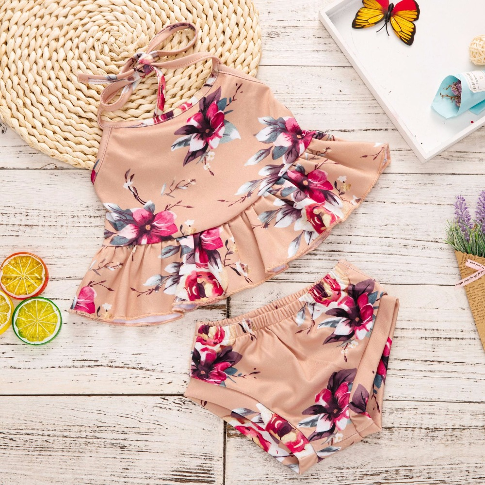 2018 Floral Backless Girls Clothing Set Summer Top Off Shoulder Crop Top Baby Bathing Suit Baby Clothes Bulk First Birthday Girl