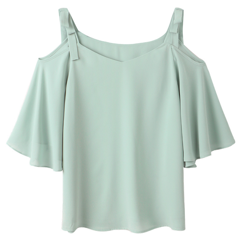 2018 summer new Korean version womens wear fashion S M L XL size butterfly sleeve slash neck chiffon light green blouse YYFS