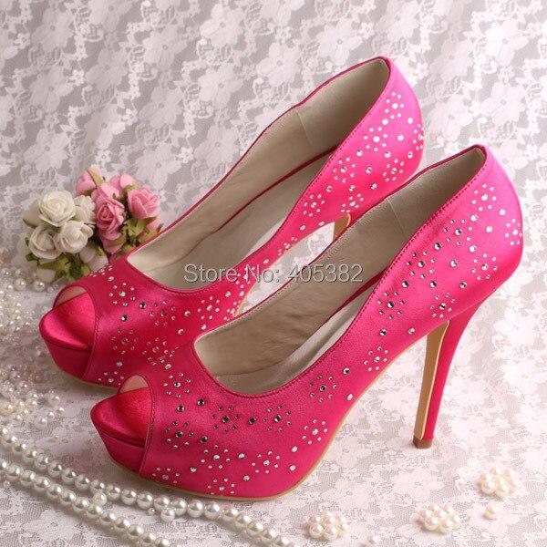 где купить Wedopus Custom Handmade Platform Party Shoes Rhinestone Heels Hot Pink Open Toes Dropshipping по лучшей цене