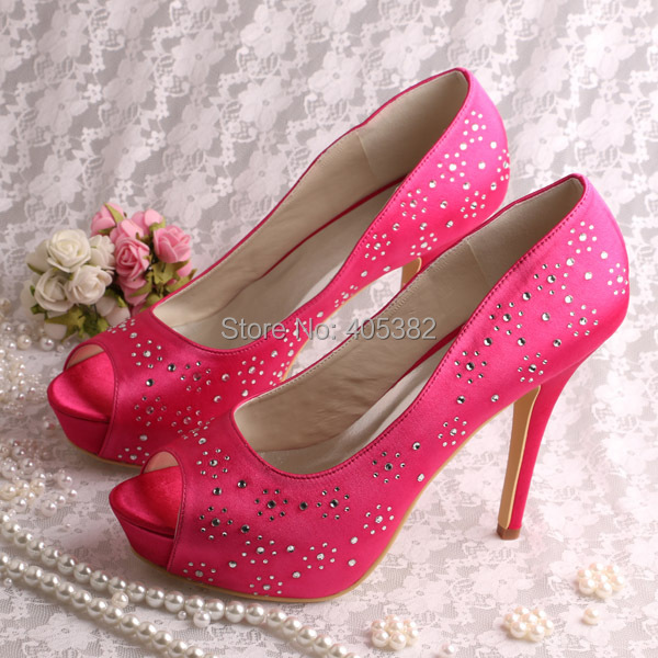 7b844f1e96a Wedopus Custom Handmade Platform Party Shoes Rhinestone Heels Hot Pink Open Toes  Dropshipping