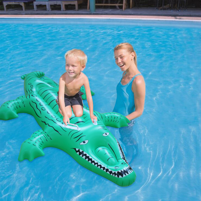 kids inflatable giant crocodile pool float baby rider water toy water rider for swimming pool beach toy air mat lounge 156*100CM