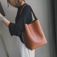 Burminsa Chain Bucket Shoulder Bags Women Large Capacity PU Leather Handbags Vintage Female Shopping Bags New 2018 Sac A Main