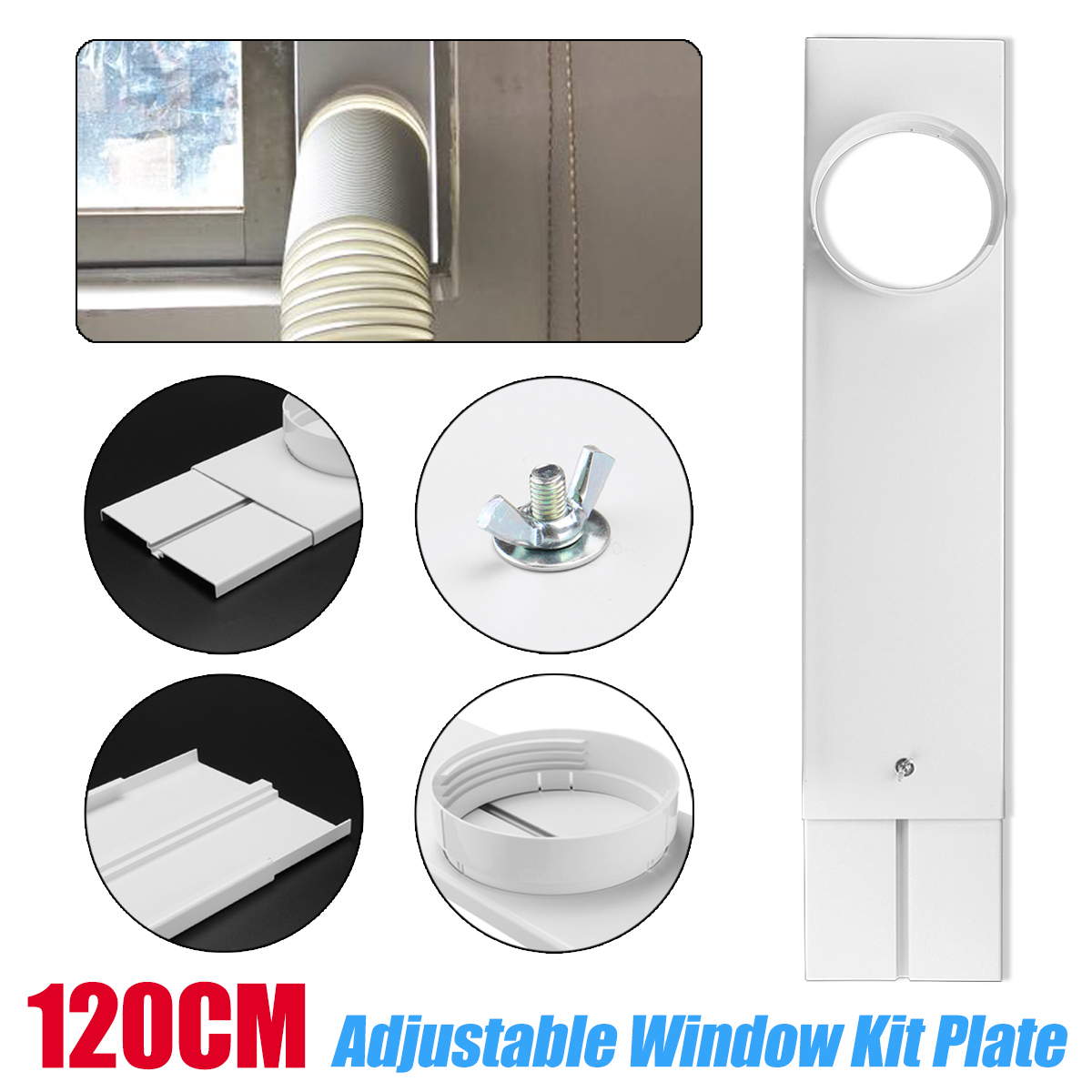 120cm Exhaust Hose/Tube Connector Adjustable Window Kit Plate For Portable Air Conditioner Window Kit Plate120cm Exhaust Hose/Tube Connector Adjustable Window Kit Plate For Portable Air Conditioner Window Kit Plate