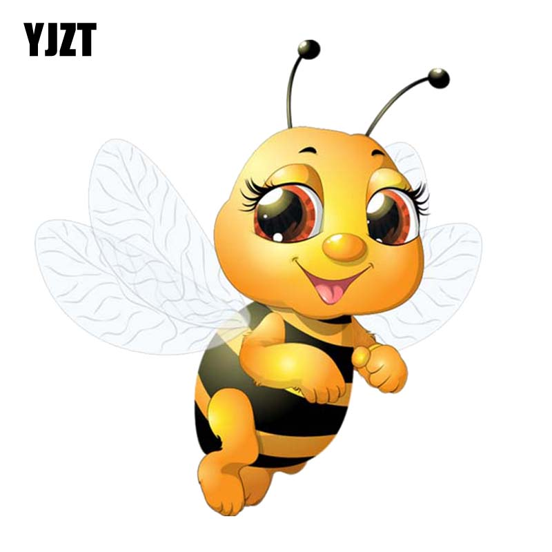 YJZT 13.4CM*14.3CM A Bee Flying In The Air PVC Car Sticker Decal Modelling 12-300584