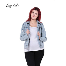 Lazy KoKo 2017 Women Plus Size Big Large Size New Fashion Single Button 3XL 4XL 5XL 6XL Long Sleeve Slim Denim Coat