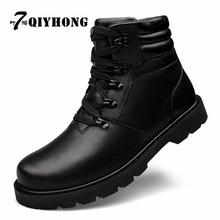 Fashion Genuine Leather Winter Krasovki Add Fur  Men Ankle Boots Zapatos Hombre Warm Winter Snow Warm Men'S Boot Lace Up Shoes