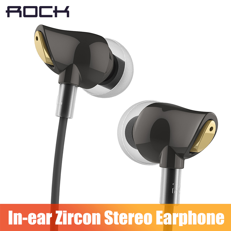 ROCK In Ear Zircon Stereo Earphone, Headset 3.5mm Luxury Earbuds For iPhone Samsung With Mic clear bass plextone x46m in ear earphone removable metal 3 5mm stereo bass earbuds gaming headset with mic for computer phone iphone sport