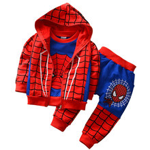 Boys Sets 2016 Autumn Spring Kids Three-Piece Sets Children Spiderman Boy Sport Teenage Clothing Sets 2-6 Years 2 Color Clothes