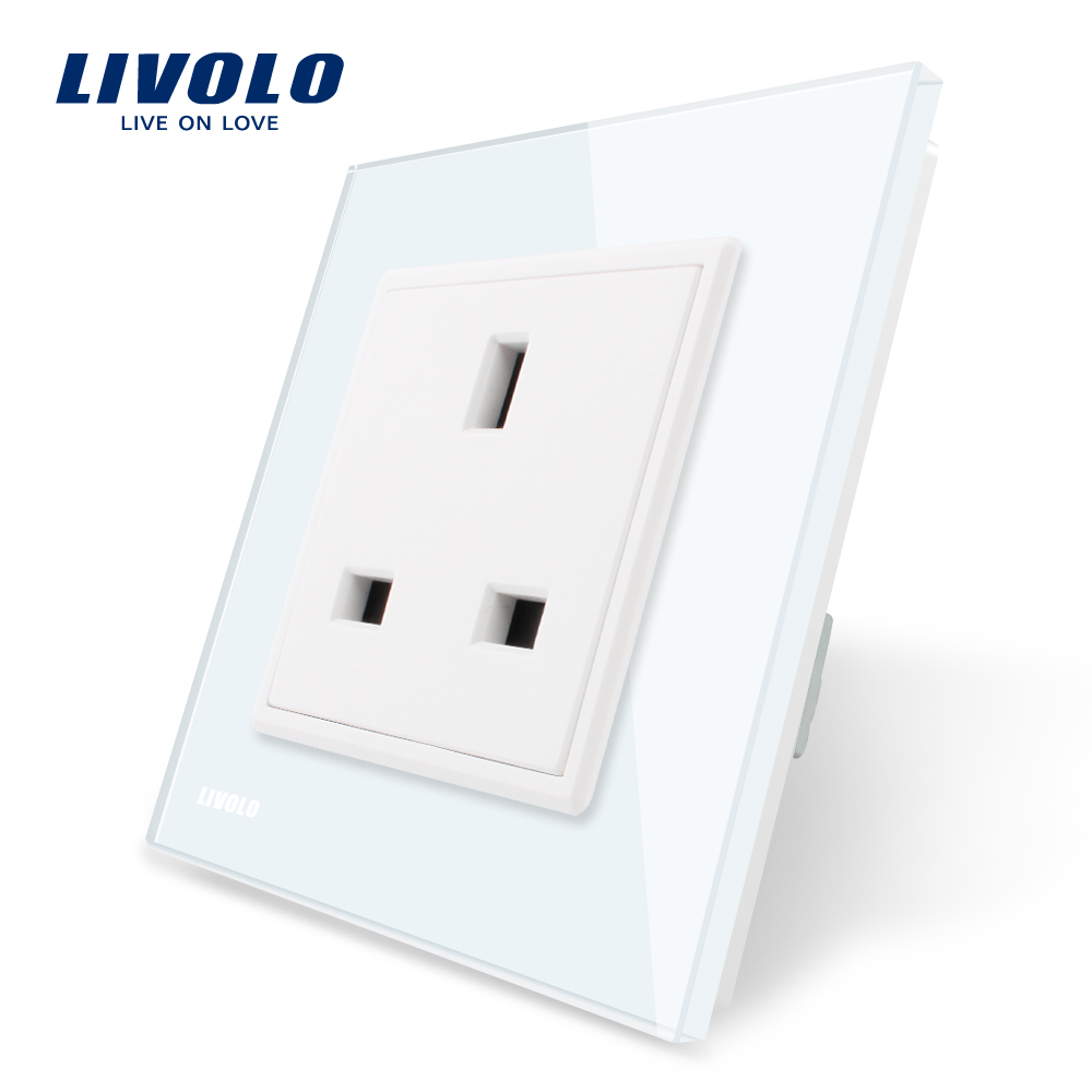 Livolo EU Standard UK Socket, White/Black Crystal Glass Panel, AC 110~250V, 13A Wall Outlet, VL-C7C1UK-11/12, 80mm*80mm uk socket wallpad crystal glass panel 110v 250v switched 13a uk british standard electrical wall socket power outlet uk with led