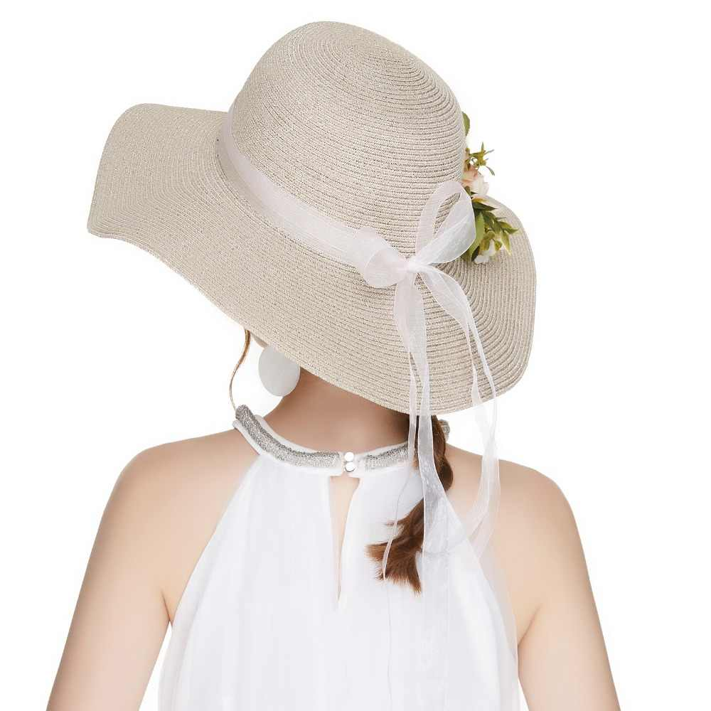 37a3bbf5418d7 ... Kajeer Summer Tea Party Hats Women Floppy Foldable Cap Flowers Beach  Straw Sun Hats Female Wide ...