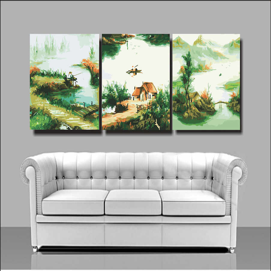 House decoration landscape paintings cheap modern canvas art triptych painting 50X50X3 coloring by numbers hand painted S3047