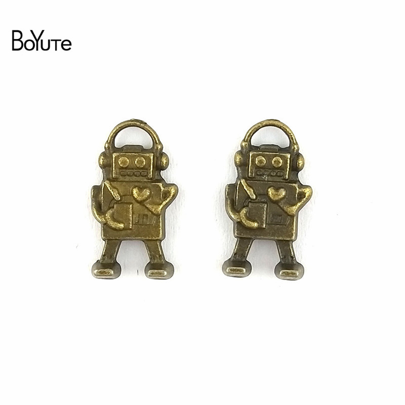 Boyute 50 Pieces Lot 18 13mm Charms Robot Antique