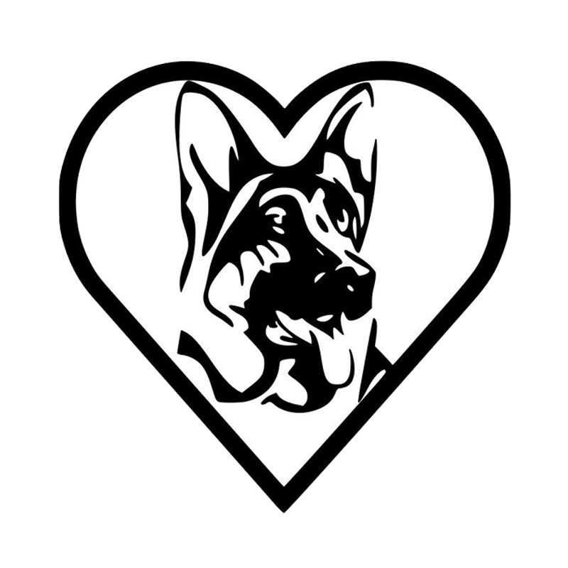 15.2*15.2CM German Shepherd Dog Decals Personality Reflective Car Stickers Car Styling Bumper Decoration Black/Silver S1-0326
