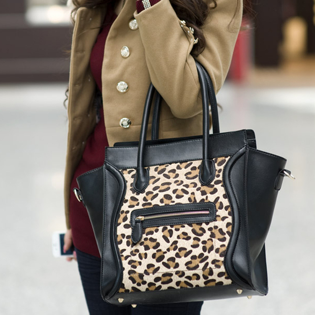 2013 horsehair leopard print bag smiley bag all-match handbag  animal print handbag