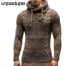Unpadupe 2018 Autumn Winter Sweater Hooded Men Brand Casual Slim Sweaters Male Warm Thick Button Decoration Sweater XXL