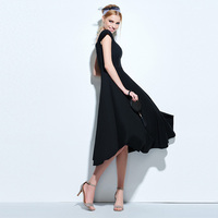 Sisjuly 2018 Women Dress Vintage Summer Black Slim Lady A Line Dress Backless Mid Calf Square