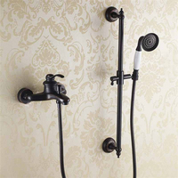 Bathroom Black Shower Set Wall Mounted Shower Mixer Tap Faucet 3 functions Handheld Shower Valve Set Solid Brass Shower Kit
