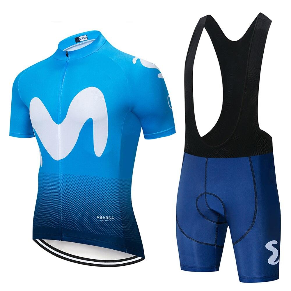 9431cc860 2019 EQUIPO Movistar de manga corta ciclismo Jersey traje babero roa  ciclismo bicicleta traje MTB bicicleta Jersey uniforme hombre ropa