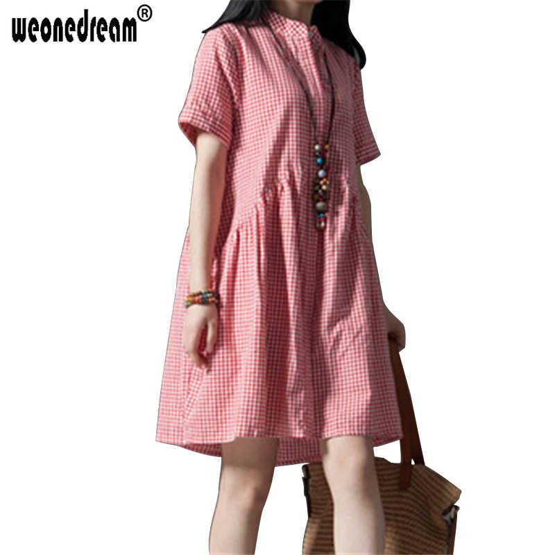 WEONEDREAM/Новые летние платья с коротким рукавом, льняное клетчатое платье для девочек, одежда для беременных большого размера, Одежда для беременных женщин