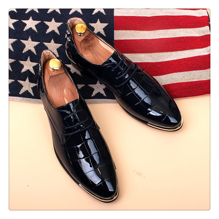 ERRFC England Style Men s Black Dress Shoes Patent Leather Shoes For ... fb74072583bb