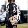 Высокое качество новинка 2016 дизайнер куртку женская потрясающие цветок вышивка обратимым бейсбол куртка