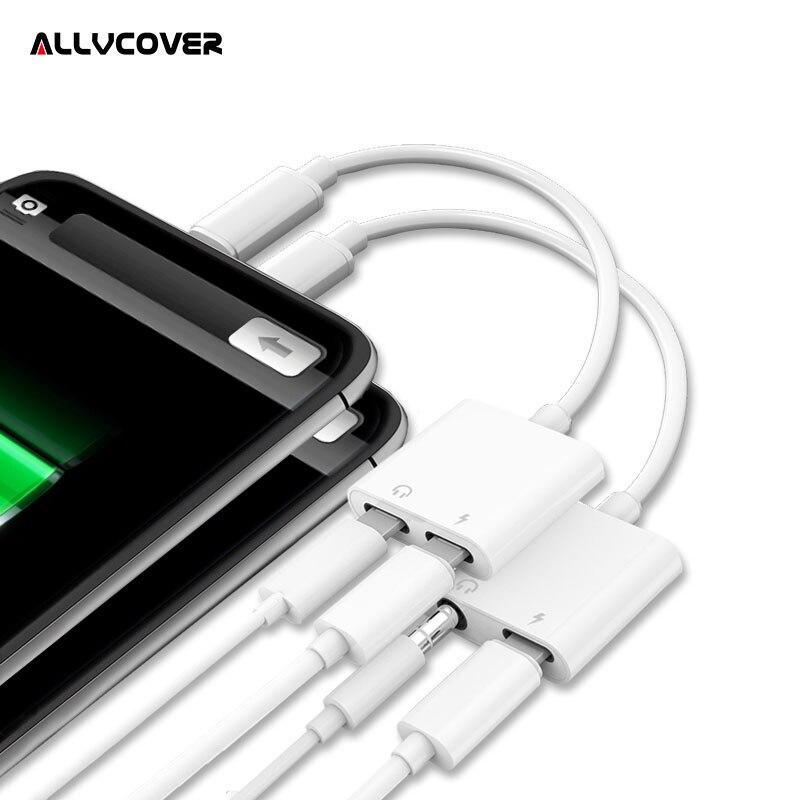 Allvcover 3 en 1 Audio adaptador del cargador Cable adaptador para relámpago a 3,5mm AUX Cable Convertidor para iPhone X 7 8 más