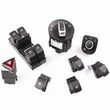 8Pcs Chrome Headlight Warning Switch Window Lifter Switches Rearview Mirror Push Button Master Window Switch For VW Jetta Golf