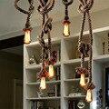 Sótão da lâmpada pendant DIY 220 v artesanal corda de cânhamo lâmpada criativo luzes pingente industrial do vintage iluminação para corredor bar do hotel