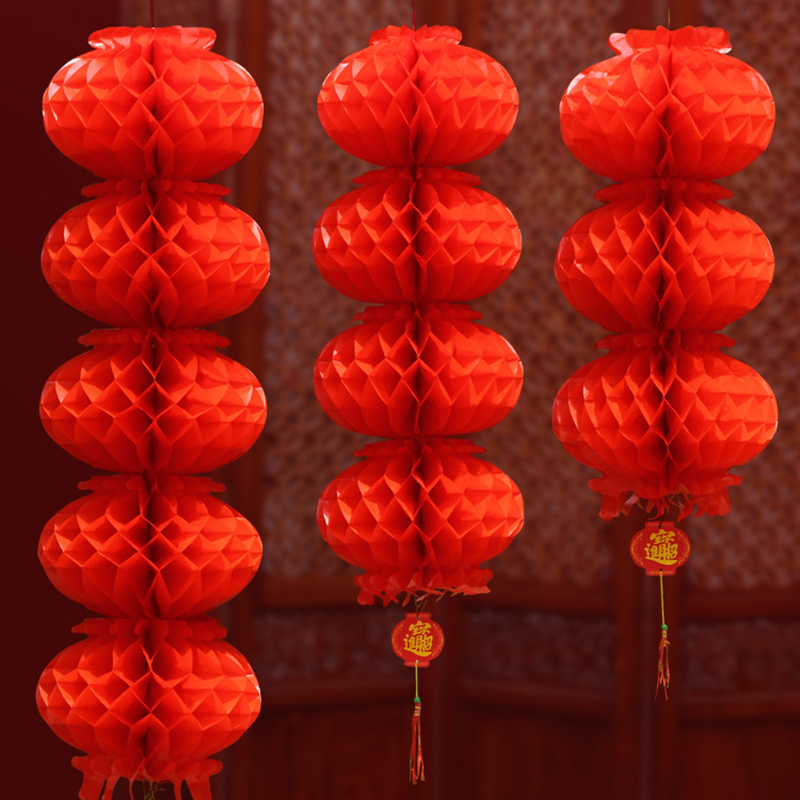 Chinese Wedding Decoration Red Honeycomb Plastic Paper Lanterns Chinatown Wish Wealth Garden