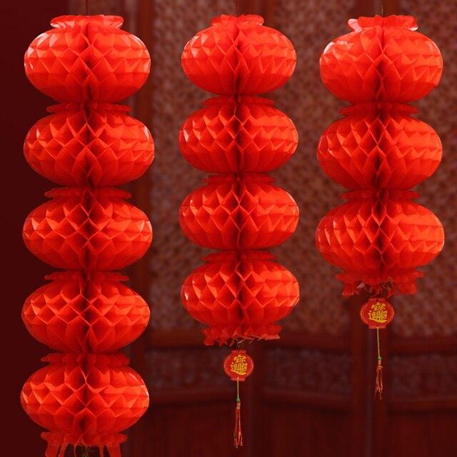 Chinese Wedding Decoration Red Honeycomb Plastic Paper Lanterns Chinatown Wish Wealth Garden Outdoor Decor String Garland