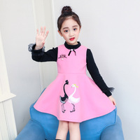 Anlencool Girls dress cartoon swan woolen cloth vest of new fund of 2018 autumn winters 2 pieces children 3 8 years clothing set