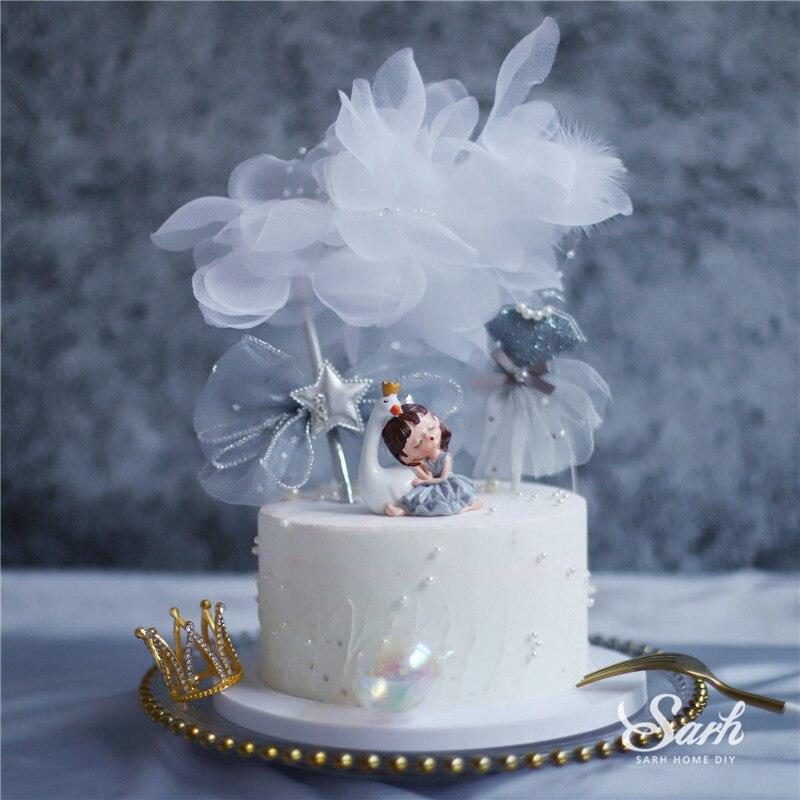 Лебедь Спящая девочка вязаный с бантом юбка торт Топпер Золотой Daimond корона для принадлежности для дня рождения Свадьбы вечерние украшения ...
