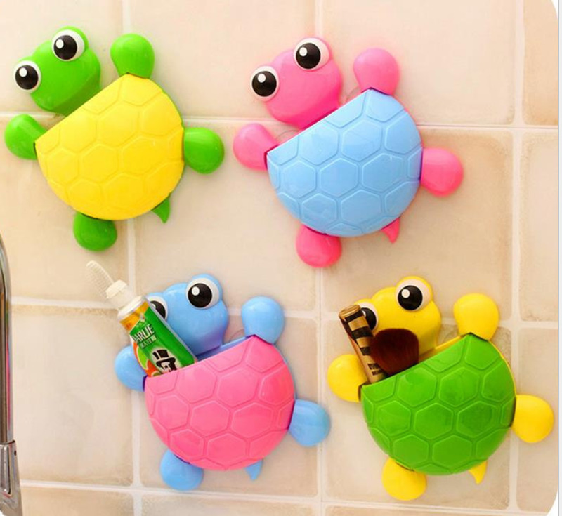 Newest cute Cartoon Animal Toothbrush Holder Suction Cup Tortoise Toothpaste Wall Sucker cup Children bathroom set accessories image