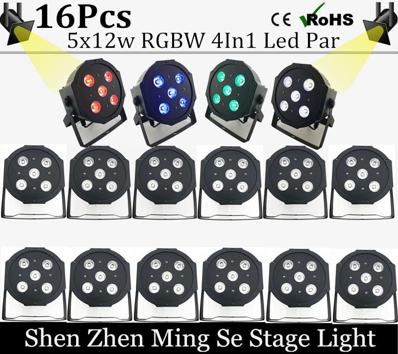 16pcs/lots 12w led  lamp beads 5x12W led Par lights RGBW 4in1 flat par led dmx512 disco lights professional stage dj equipment