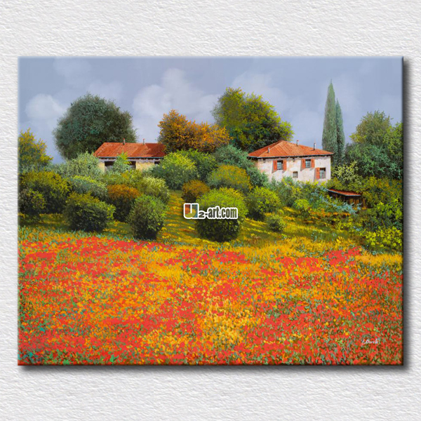 High quality home decoration painting beautiful mountain flowers field canvas fresh picture for friends unique gift