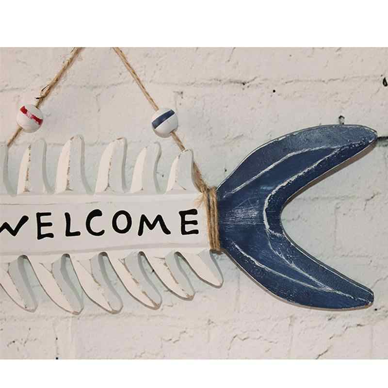 WELCOME Wooden Fish Skeleton Hanging Home Shop Beach Theme Cafe Decor