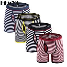 4pcs Cotton Men Boxer Underwear Underpants Striped Plus Size lengthen Male Panties Shorts Fat Guy Sports
