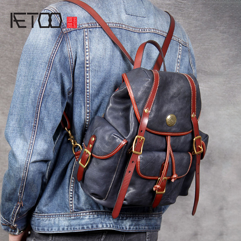 AETOO Personality head Cowhide Double shoulder bag retro handmade leather male and female backpackAETOO Personality head Cowhide Double shoulder bag retro handmade leather male and female backpack