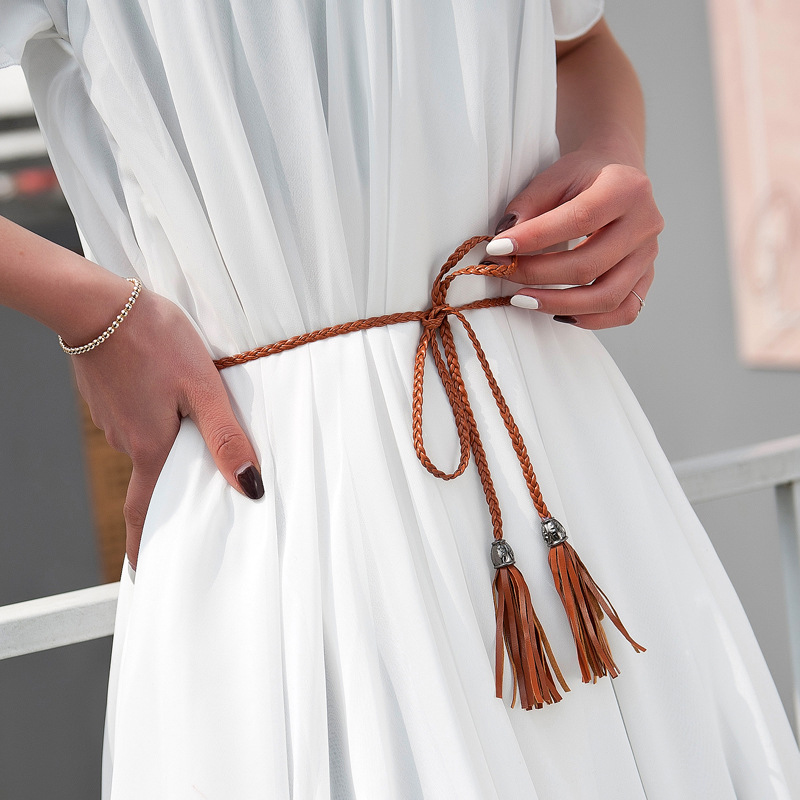 Hand-Knitted Long Leather Designer Braid Waist Tassel Belts Women Thin Waist Rope 130cm Belts All-match PU String Cummerbunds