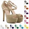 Envío gratis sexy dulce blanco de punta Abierta de ultra tacones altos sandalias 2014 de las mujeres zapatos de plataforma tacones finos bombas dree weeding zapatos